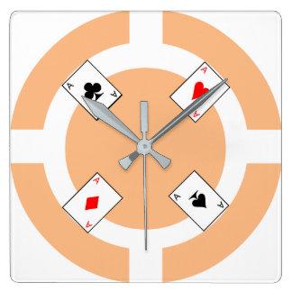 Ficha de póker - melocotón reloj cuadrado