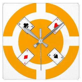 Ficha de póker - naranja reloj cuadrado