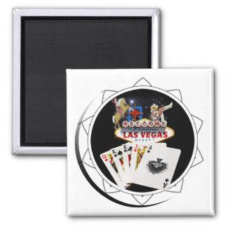 Ficha de póker negra del signo positivo imán cuadrado