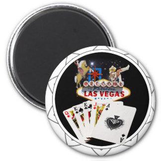 Ficha de póker negra del signo positivo imán redondo 5 cm