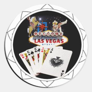 Ficha de póker negra del signo positivo pegatina redonda