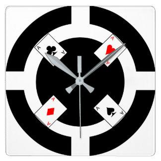 Ficha de póker - negro reloj cuadrado