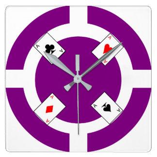 Ficha de póker - púrpura reloj cuadrado