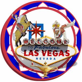 Ficha de póker roja y azul del signo positivo de fotoescultura vertical