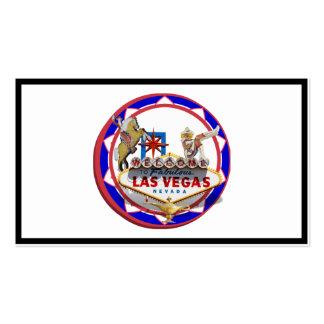 Ficha de póker roja y azul del signo positivo de tarjetas de visita