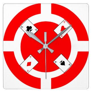 Ficha de póker - rojo reloj cuadrado