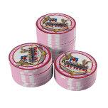 Ficha de póker rosada de Las Vegas Juego De Fichas De Póquer