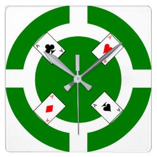 Ficha de póker - verde reloj cuadrado