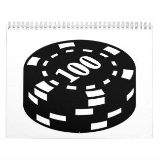 Fichas de póker 100 calendario de pared