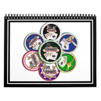 Fichas de póker a montones calendarios