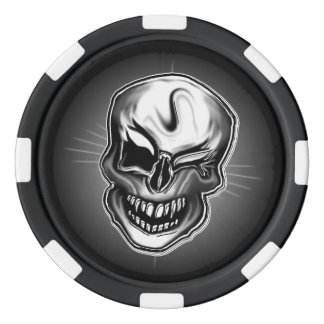 Fichas de póker afortunadas del cráneo juego de fichas de póquer