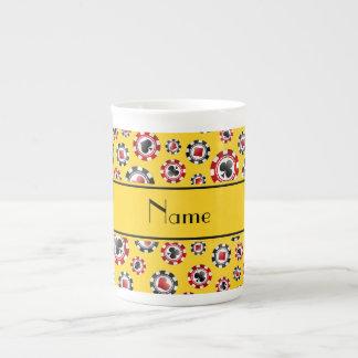 Fichas de póker amarillas conocidas personalizadas tazas de porcelana