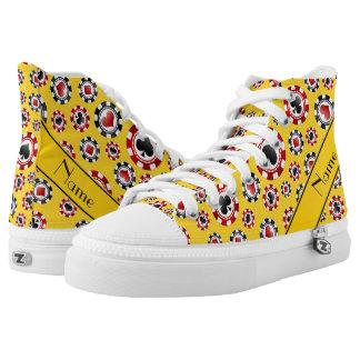 Fichas de póker amarillas conocidas personalizadas zapatillas