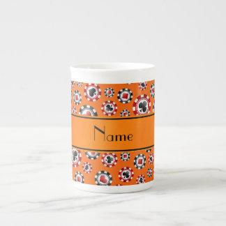 Fichas de póker anaranjadas conocidas personalizad tazas de porcelana