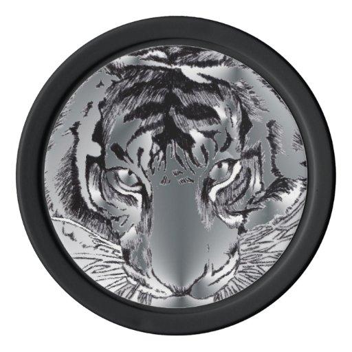 fichas de póker de plata del tigre fichas de póquer