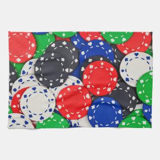Fichas de póker del casino toalla de mano