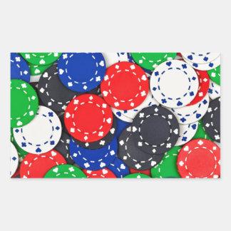 Fichas de póker del casino pegatina rectangular