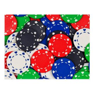 Fichas de póker del casino tarjeta postal