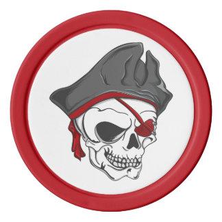 Fichas de póker del cráneo del pirata fichas de póquer
