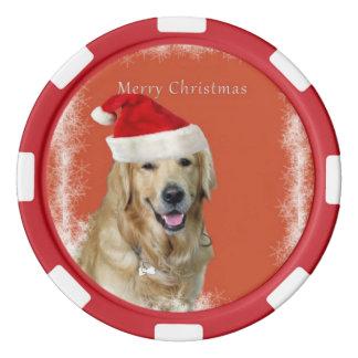 Fichas de póker del perrito de las Felices Navidad Fichas De Póquer