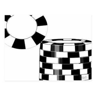 Fichas de póker en blanco y negro tarjeta postal