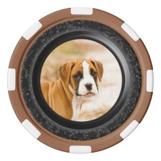 Fichas de póker lindas y elegantes del perro de juego de fichas de póquer