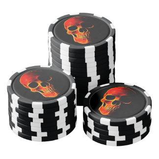 Fichas de póker llameantes de encargo del cráneo juego de fichas de póquer