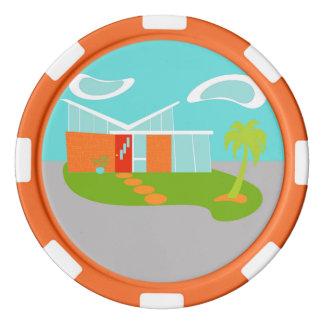 Fichas de póker modernas de la casa del dibujo juego de fichas de póquer