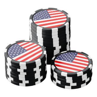Fichas de póker patrióticas de la bandera juego de fichas de póquer