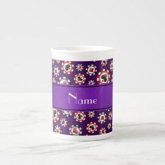 Fichas de póker púrpuras conocidas personalizadas tazas de porcelana