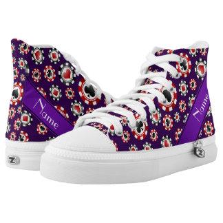 Fichas de póker púrpuras conocidas personalizadas zapatillas