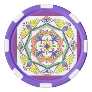 Fichas de póker púrpuras del diseño de la mandala fichas de póquer