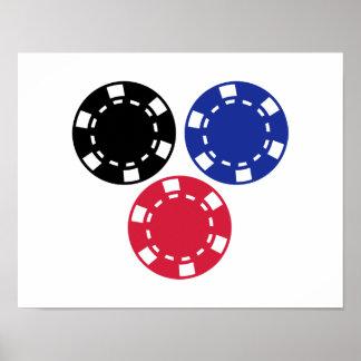 Fichas de póker que juegan póster