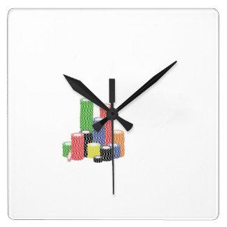 fichas de póker reloj cuadrado