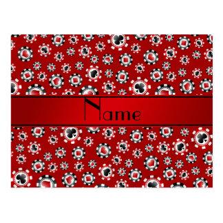 Fichas de póker rojas conocidas personalizadas tarjetas postales