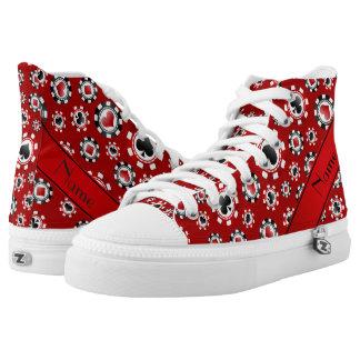 Fichas de póker rojas conocidas personalizadas zapatillas