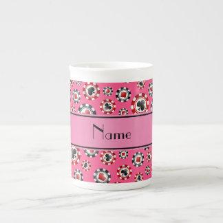 Fichas de póker rosadas conocidas personalizadas tazas de porcelana