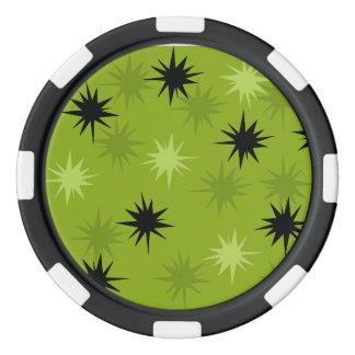 Fichas de póker verdes atómicas de Starbursts Juego De Fichas De Póquer
