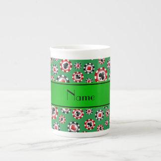 Fichas de póker verdes conocidas personalizadas taza de porcelana