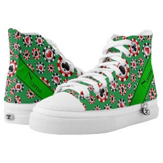 Fichas de póker verdes conocidas personalizadas zapatillas