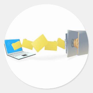 Ficheros de transferencia del ordenador portátil pegatina redonda
