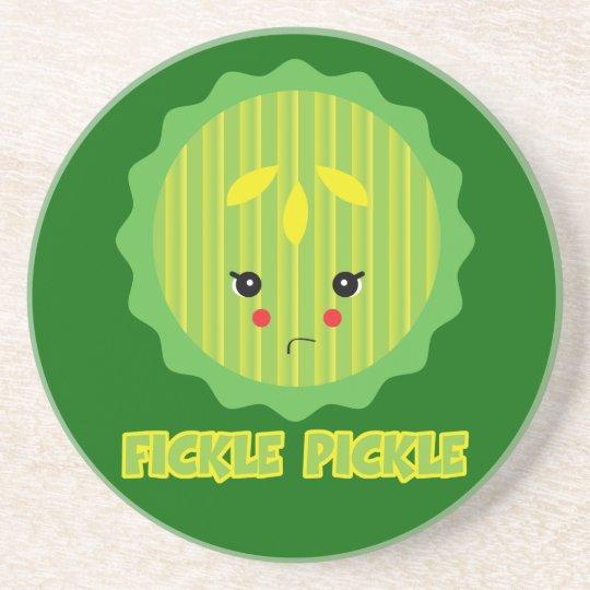 fickle pickle drink coaster