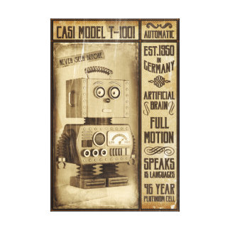 Fictional Vintage Robot Poster Canvas Print