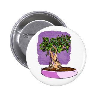 Ficus Bonsai Purple Tray Pinback Button