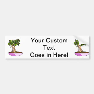 Ficus Bonsai Purple Tray Car Bumper Sticker