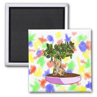Ficus Bonsai Purple Tray Refrigerator Magnet