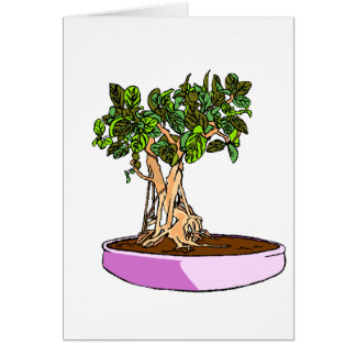 Ficus Bonsai Purple Tray Stationery Note Card