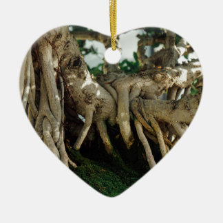 Ficus bonsai roots Double-Sided heart ceramic christmas ornament