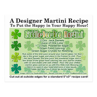 Fiddle Dee Dee St. Patrick's Day Martini Card