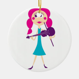Fiddle Gal Christmas Ornament